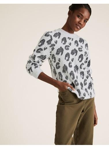 Marks & Spencer Desenli Jakarlı Bluz Beyaz